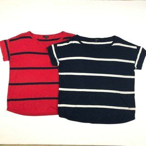 Talbots Navy Blue Red Striped Cap Sleeve Sweater